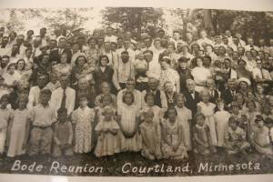 A snippet of a photo from the July 1938 family reunion in Courtland attended by 511 Bodes. My grandparents, Lawrence and Josephine Bode, are in the center of the picture, between the adults holding the babies.