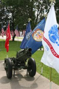 Military artillery at Kenyon Veterans Memorial Park.