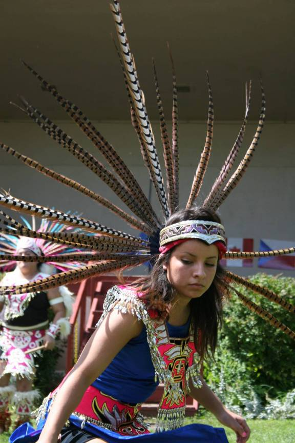 A member of Ollin Ayacaxtli dances at Faribault's International Market Day celebration.