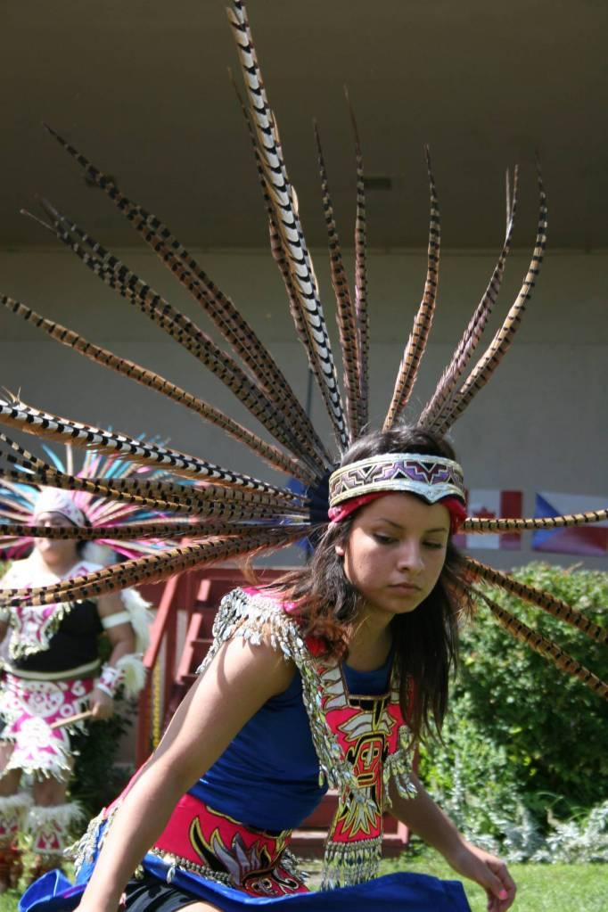 A member of Ollin Ayacaxtli dances at Faribault's International Market Day celebration.