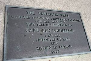 A plaque in Kenyon Veterans Memorial Park honors Major Benjamin Danielson, whose fighter jet was shot down in Laos in December 1969. He was missing in action for years before a bit of his remains were positively identified. He was laid to rest back home in Kenyon in 2007.