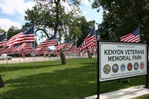 Flags fly in the Field of Honor at Kenyon Veterans Memorial Park during Rose Fest.