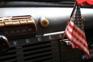 Inside Howard Homeier's Chevy pickup.