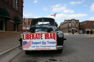 Howard Homeier's patriotic pickup truck parked in downtown Kenyon, Minnesota.
