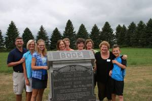 "Bode family members, including me, behind the letter ""B,"" gather around the grave of my great-great grandparents, Karl and Luise Bode."