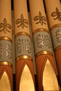 A close-up of pipes in the 114-year-old pipe organ, played today by a member of the Bode family at Immanuel.