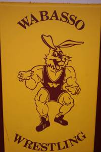 """We discovered this muscular rabbit in the wrestling room and quickly decided we prefer the gentler, kinder rabbit of the 1970s. For those who wonder about the unusual rabbit, Wabasso means """"white rabbit"""" in a Native American language."""
