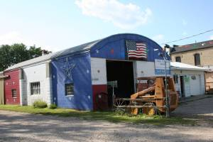 Vietnam veteran Joel Kukacka's patriotic garage in the hamlet of Heidelberg, Minnesota.