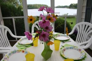 Debbie created a beautiful table setting using her favorite color, green, mixing and matching with pinks and yellows.