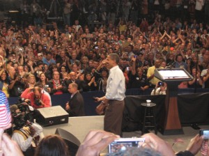 "My daughter was ""this close"" to President Barack Obama during his Target Center rally in Minneapolis on Saturday afternoon."