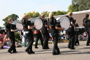 Even this marching band, and I don't know where they came from, wore cowboy hats.