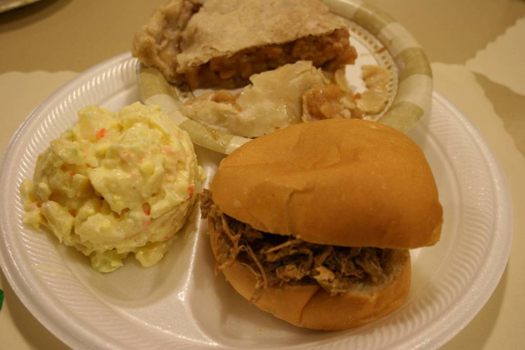 You can't beat the food served during the CVLHS auction, like this pork sandwich, potato salad and homemade apple pie.