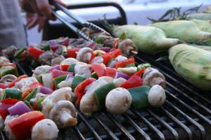 Monte's Steakhouse of Faribault grilled kabobs and sweet corn.