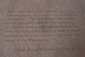 Henry Schoolcraft's poetic words in stone at the Itasca State Park interpretative center. Click on the photo to enlarge.