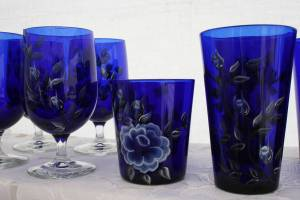 Shirley Smith of Ostrander brought her hand-painted glassware to the fest.