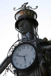 """""""All About Time,"""" a quirky art piece by Sherry Olson on the corner of 6th St. N.W. and Beltrami Ave. N.W."""