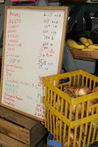 A white board lists produce available at Twiehoffs.