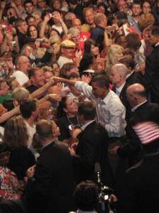 President Barack Obama gets close to the crowd.