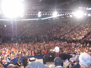 Seated in the bleachers behind the President, Amber had a great view of Obama and the crowd.