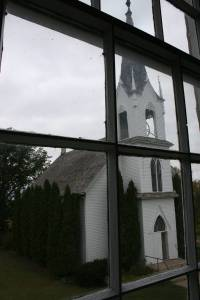 The 1894 Valley Grove Church as seen trhough the second floor window of the 1862 stone church.