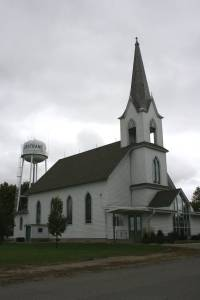 Grace Lutheran Church, the church under the water tower in Nerstrand.