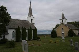 The cemetery rests next to the 1862 and 1894 Valley Grove churches near Nerstrand.