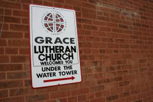 This sign on the corner of a Main Street business in Nerstrand directs motorists to Grace Lutheran Church.