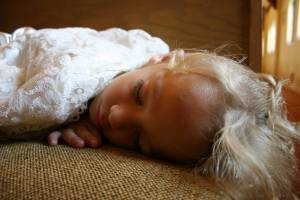 Kids look so sweet when they're asleep, and even cuter when dressed to the nines.