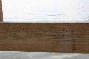 Not just graffiti, but a poem at Sibley Lake Park, Pequot Lakes.