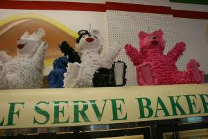 Colorful pinatas are also sold at Los 3 Reyes Bakery.