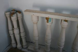 Altar railings, now stored in a corner of the balcony.