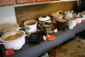 Each guest family brings a crockpot of soup or chili to the party, which is staged in the garage.