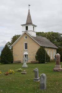 The 1862 stone church, the first one built at Valley Grove.