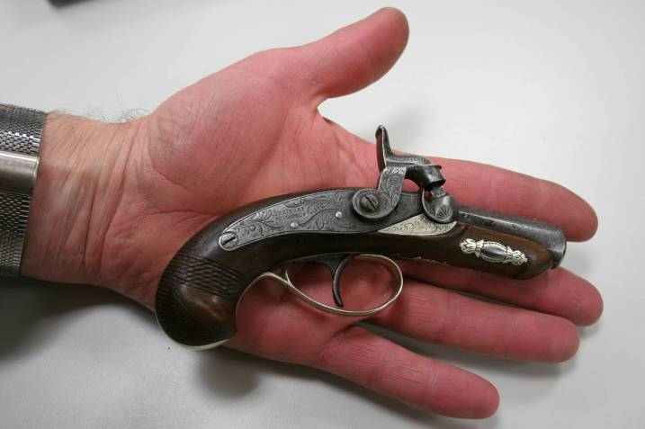 An 1840 Philadelphia Derringer, like the pistol used to assassinate President Abraham Lincoln.