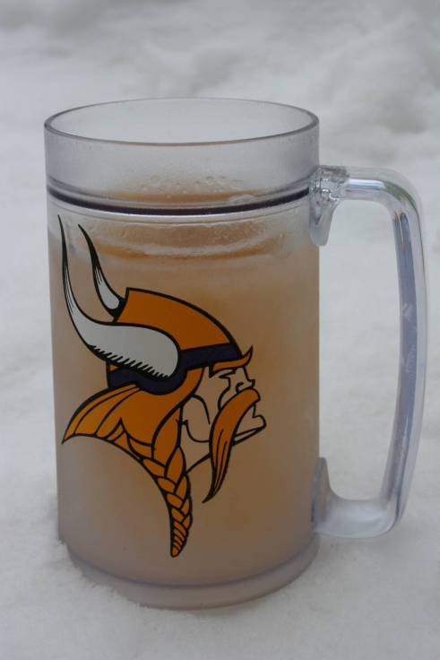 Icy cold beer served up in a Minnesota Vikings mug.