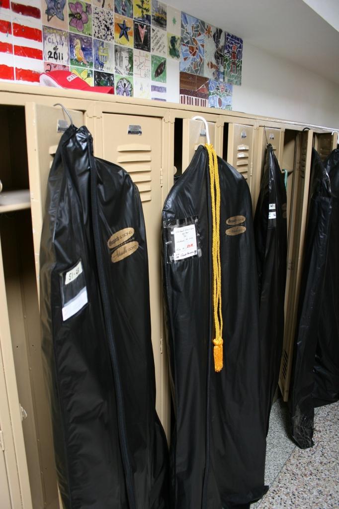 Graduation gowns await graduates at WWG High School.
