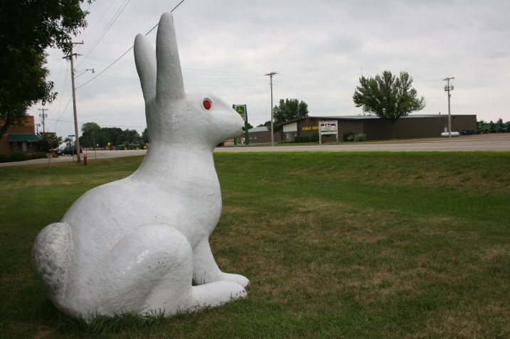 A white rabbit statue sits along Minnesota Highway 68 in Wabasso.