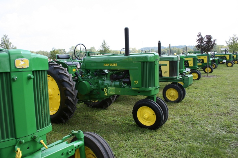 John Deere tractors galore lined up at the 2009 Rice County Steam & Gas Engine Show. Santa will likely arrived on a newer model John Deere at this week's SEMA Equipment holiday open houses.