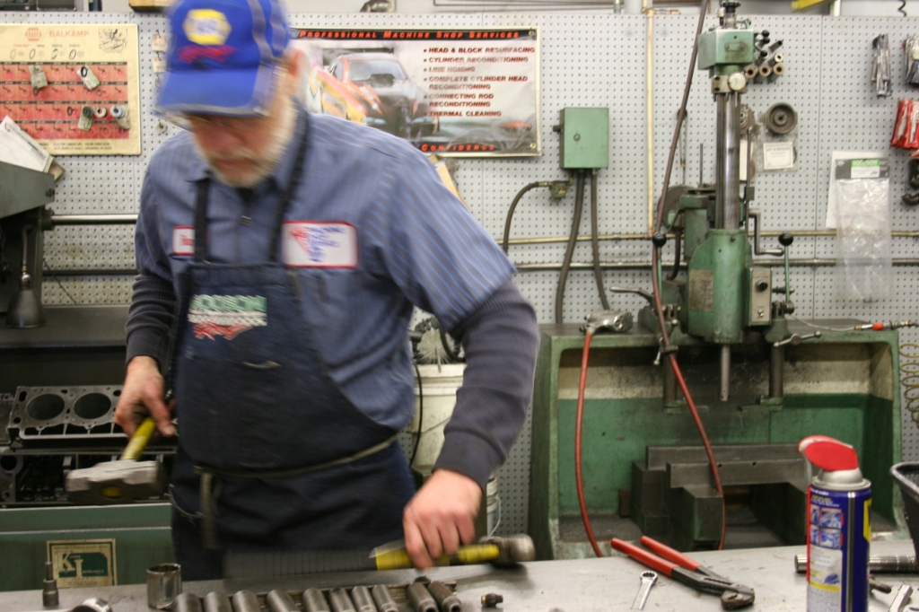 My husband at work in the automotive machine shop where he is employed.