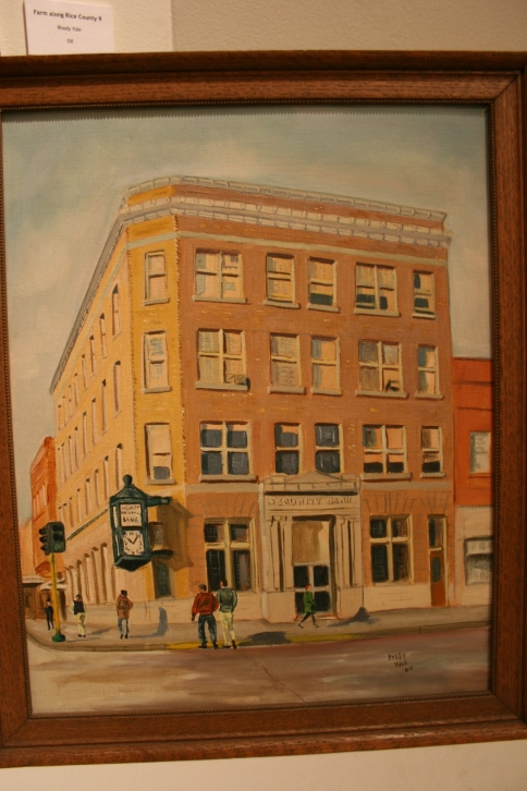 In 1964, Rhody Yule painted this picture of the Security Bank in downtown Faribault.