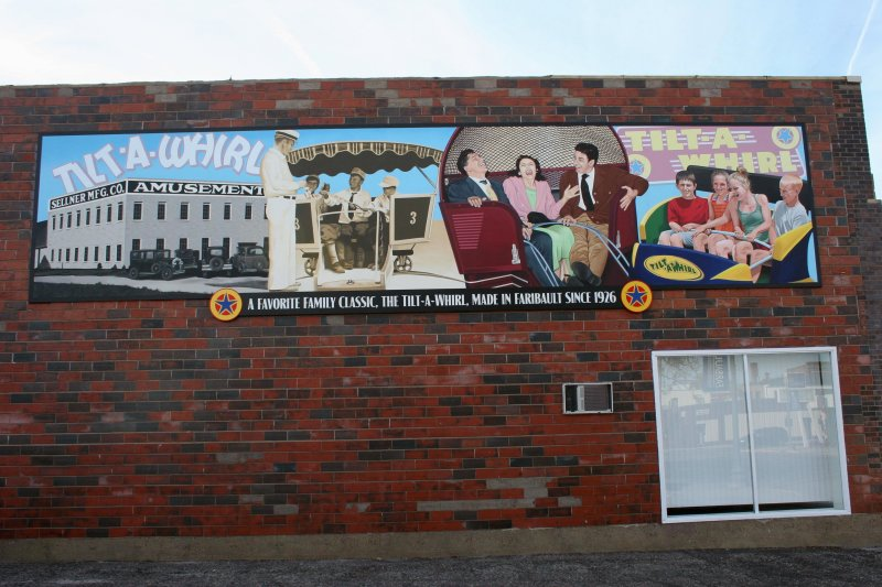 The Mural Society of Faribault created and placed the Tilt-A-Whirl mural on the side of Jim's Auto & Tire this past fall.