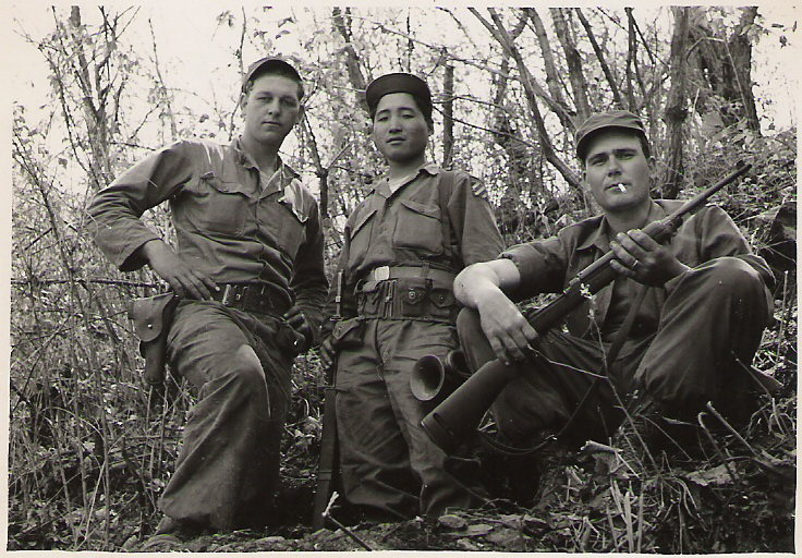 My father, Elvern Kletscher, on the left with two of his soldier buddies in Korea.