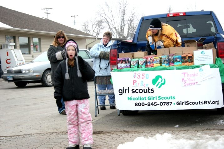 Girls and their moms peddled Girl Scout cookies in Courtland.
