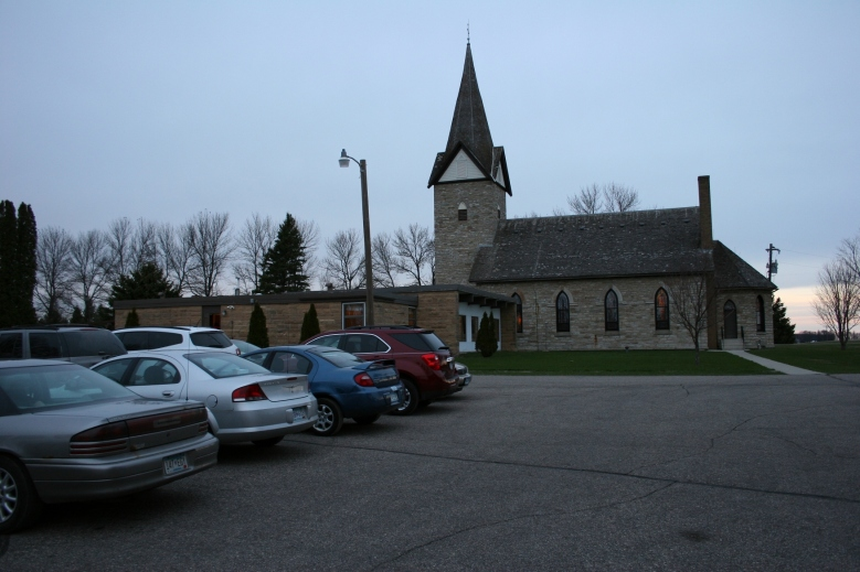 The parking lot at St. John's United Church of Christ, Wheeling Township, is nearly full 20 minutes before the congregation's annual performance of The Last Supper Drama.