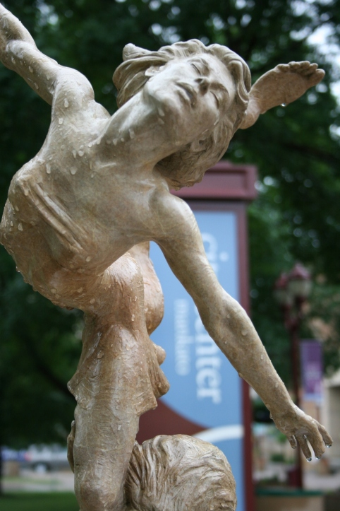 "Martin Eichinger of Portland, Oregon, created this graceful ""Bird in the Hand"" bronze sculpture valued at $14,500 and posed near the Mankato Civic Center."