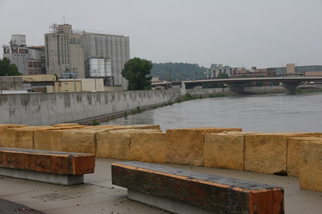 A view of the Minnesota River as seen from Riverfront Park, looking toward downtown Mankato.