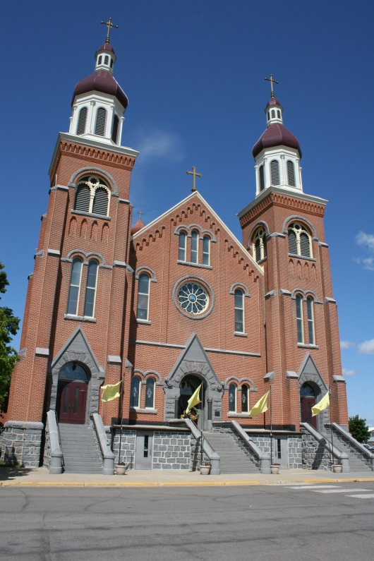 The Church of St. Mary rises above the land, defining Melrose. Minnesota Prairie Roots file photo 2011.