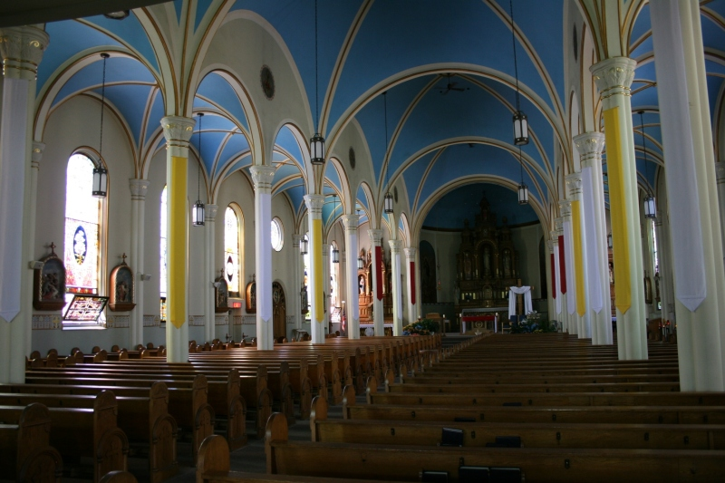 A view from the back of St. Mary's Catholic Church looking toward the main altar.