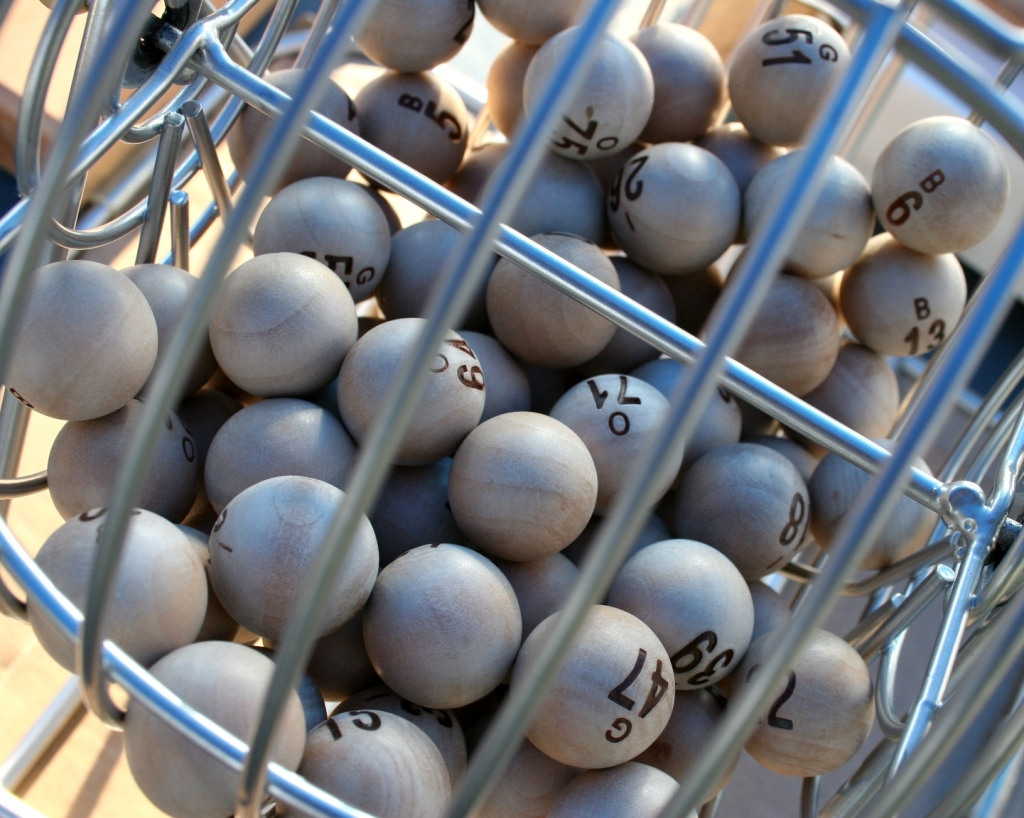 Not quite Vegas, but bingo balls at a church festival.