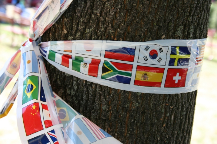 International flag ribbons were tied to trees in Central Park during the 2011 International Festival..